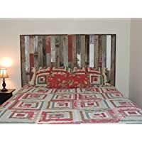 Rustic Queen Panel Headboard (67.5 X 37.5) made of Reclaimed, Recycled Barn Wood. Wallmounted. Your Choice of Accent Colors
