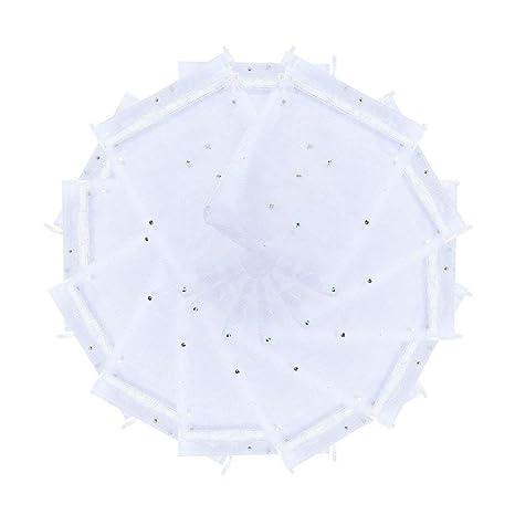 Pandahall Bolsas blancas de embalaje de regalo de organza para la boda y la navidad, 10x12 cm