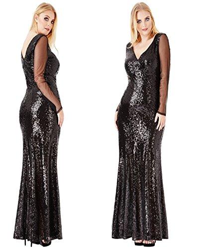 4532dd93cdb0d7 NEW GODDIVA BLACK SEQUIN LONG FULL LENGTH CHIFFON SLEEVE EVENING WEDDING  FORMAL COCKTAIL BALL PROM PARTY DRESS(SIZE 16-26) (16)  Amazon.co.uk   Clothing