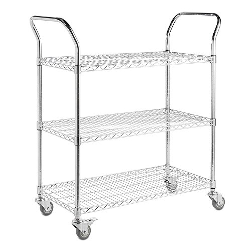 Shopfitting Warehouse 3-Tier Wire Utility Cart, Chrome