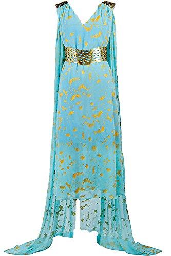 CosplaySky Game of Thrones Costume Daenerys Targaryen Blue Dress Small
