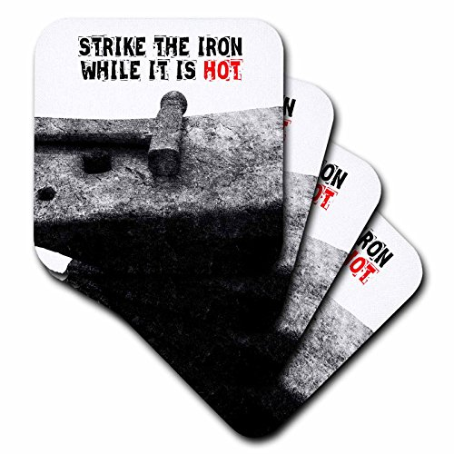 Anvil Coaster Set - 3dRose Alexis Photography - Objects - Heavy iron anvil and a hammer. Strike the iron while it is hot - set of 4 Coasters - Soft (cst_271894_1)