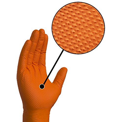 SupplyMaster - SMDTON8M - Diamond Texture Nitrile Gloves - Disposable, Powder Free, Industrial, 8 mil, Medium, Orange (Case of 200) by SupplyMaster (Image #5)