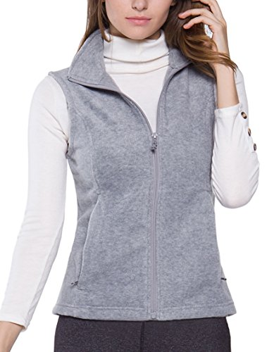 Oalka Women's Spring Fall Full Zip Fleece Vest Light Grey L