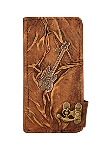 Guitar Pendant iPhone 6 Plus Case Handmade Vintage Style Real Genuine Leather Cover Wallet Hardcover Side Flip Case for iPhone 6 Plus Cover Brown with Lock