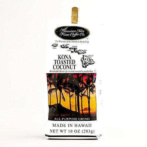 Hawaiian Isle Toasted Coconut Kona Coffee 10 oz each (1 Component Per Order)