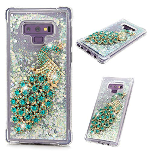 - Galaxy Note 9 Case, Clear Liquid Glitter Case Bling Shiny Sparkle Flowing Moving Hearts Diamonds Rhinestones Gems Shock Absorption TPU Bumper Drop Resistant Cover for Samsung Galaxy Note 9 - Peacock