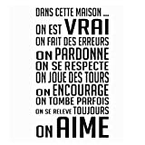 "SODIAL(R) home decoration for French homes""DANS CETTE MAISON"" wall sticker house rules vinyl wall stickers home d¨¦cor-Black"