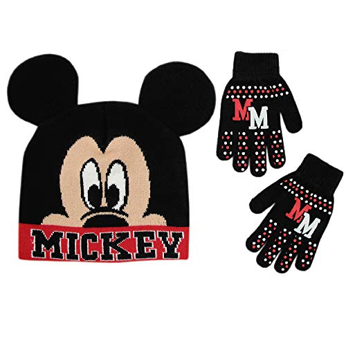 Disney Little Boys Mickey Mouse Hat and Gloves Cold Weather Set, Black/Red, Age 4-7