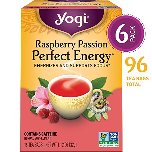 Yogi Tea - Raspberry Passion Perfect Energy - Energizes and Supports Focus - 6 Pack, 96 Tea Bags Total