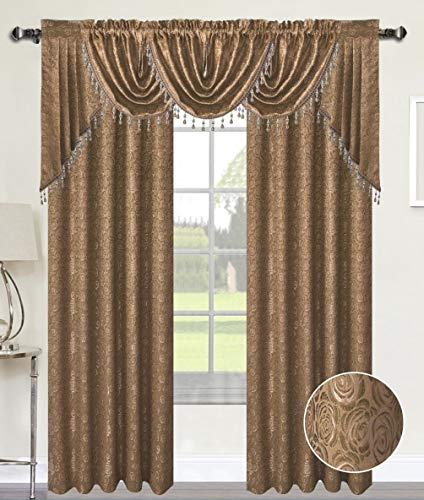 Luxury Home Textiles Angelina Damask 7 Piece Curtain, Beaded Austrian VALANCES and Swag Set, Taupe Brown ()