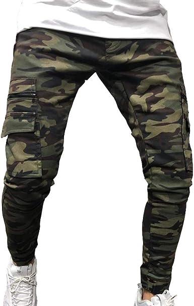 Huateng Pantalones Cargo De Camuflaje Para Hombres Bolsillos Multiples Zipper Decoracion Slim Jeans Estrechos Pies Amazon Es Ropa Y Accesorios