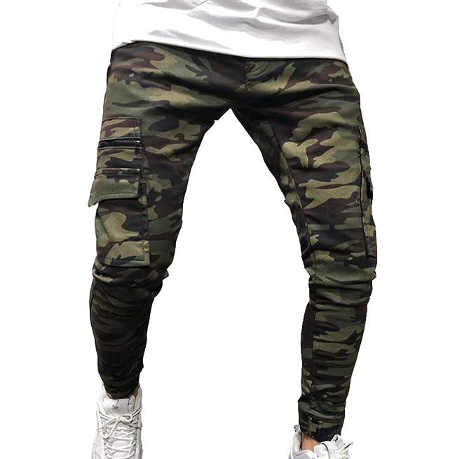 Huateng Pantalones Cargo de Camuflaje para Hombres Bolsillos ...