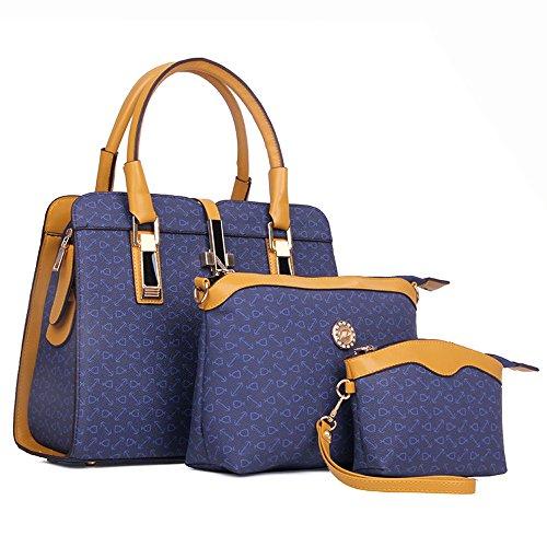 Womens 2 Piece Tote Bag Leather Handbag Crossbody Bags Set (Blue) - 8