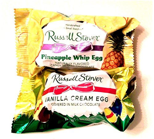 - Russell Stover's Chocolate Candy Easter Basket Filler. Bundle Includes 1-1oz Pineapple Whip Egg in Dark Chocolate and 1-1oz Vanilla Cream Egg in Milk Chocolate.