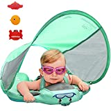 PRESELF Baby Solid Float with Canopy Safety Aquatics Floating Ring Fit Infant Toddler Swimming Pool Swim School Training (Green)