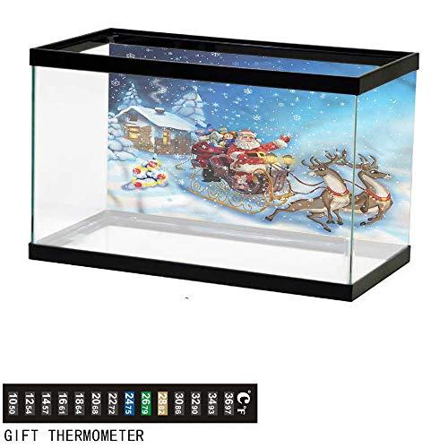 bybyhome Fish Tank Backdrop Christmas,Santa in Sleigh Toys,Aquarium Background,36