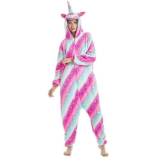 a1ee6e270024 Women Unicorn Hooded Pajamas Soft Plush Onesies PJS Sleepwear Halloween  Costume (Galaxy Unicorn