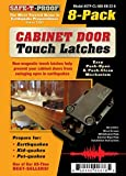 Safe-T-Proof STP-MP-600-BL-2208 Cabinet Door Touch Latches (8 Pack), Black