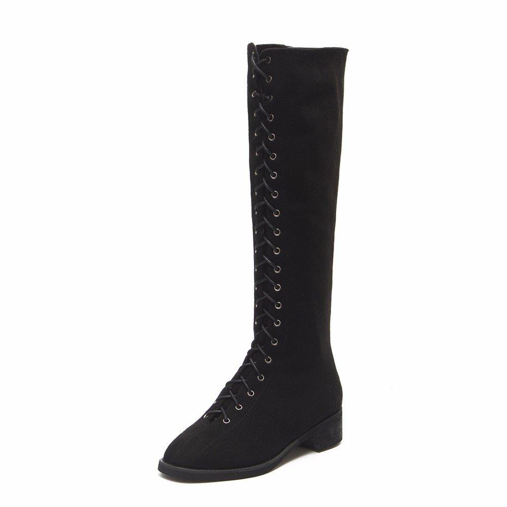 FLYRCX Die Dame von Herbst und Winter Fashion Persönlichkeit Riemchen bequeme warme rutschfeste Schuhe Stiefel