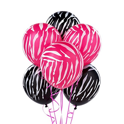 20 Pink Black White Zebra Stripe Balloon ()
