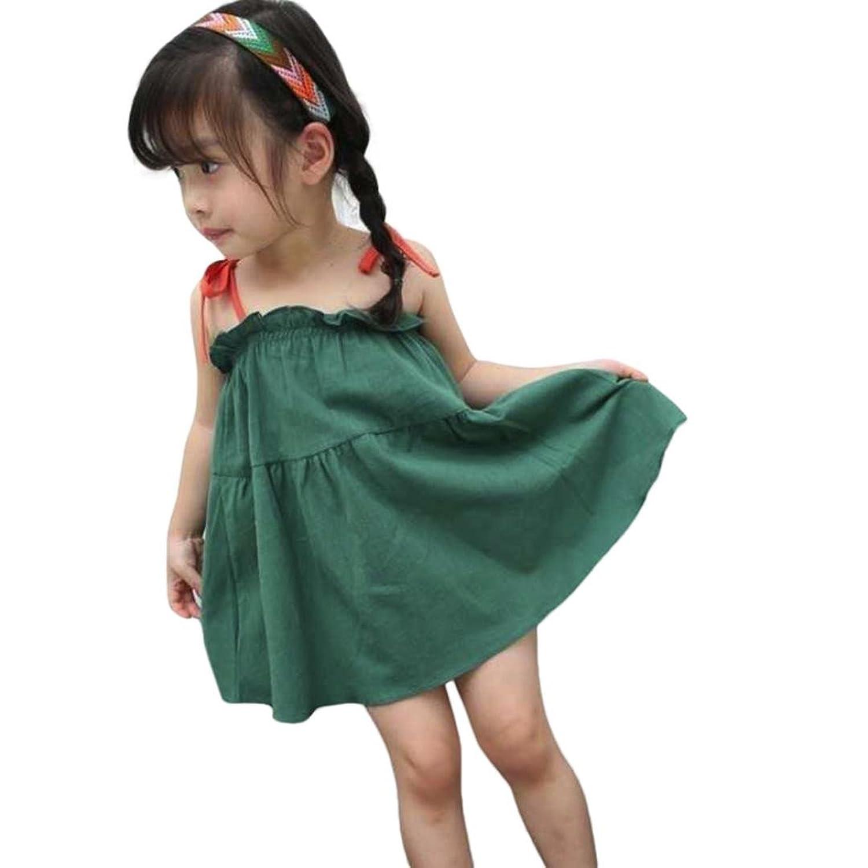 Amazon.com: G&Kshop Little Girls Dress Summer Solid Halter Ruffle A ...
