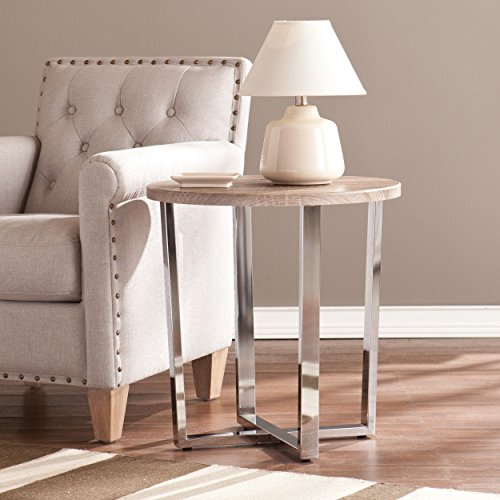 Southern Enterprises Ettings Side End Table, Sun Bleached Gray Finish with Chrome Base Review