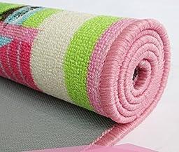HUAHOO Pink Girls Bedroom Rugs Cartoon Castle Kids Rug Bedroom Floor Rugs Nylon Cartoon Kids Living Room Carpet