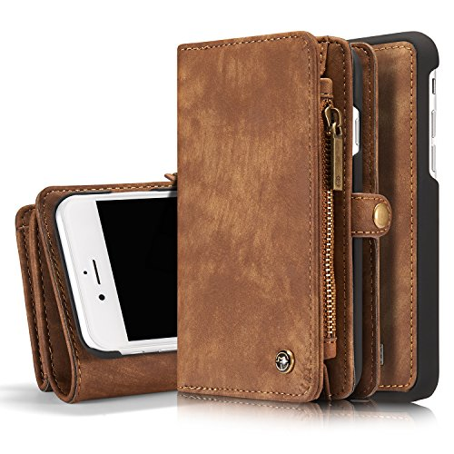 ICE FROG iPhone 7 / 8 Plus 5.5 Wallet Case, Premium Leather Zipper Purse Detachable Magnetic Case with Flip Credit Card Slots for 5.5 Inch iPhone 7 Plus & iPhone 8 Plus - Brown