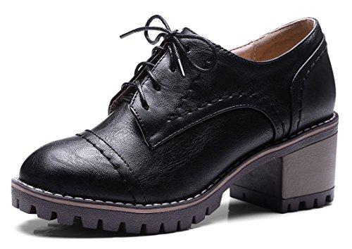 Aisun Womens Scarpe Stringate Eleganti Vintage A Punta Tonda Blocco Scarpe Oxford Con Tacco Medio Nero