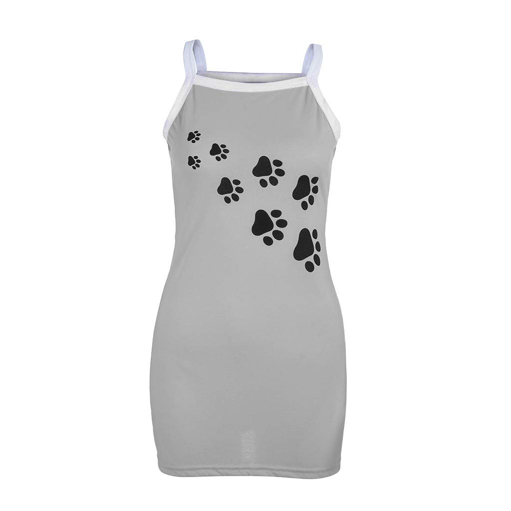 Women Summer Casual Cute Dog Paw Printed Tshirt Dress Spaghetti Strap Beach A-Line Mini Dress(M,Gray-2) by Sinohomie (Image #2)