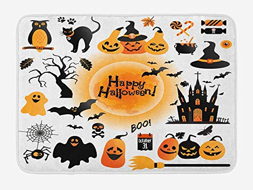 Halloween Bath Mat, All Hallows Day Objects Haunted House Owl and Trick or Treat Candy Black Cat, Plush Bathroom Decor Mat with Non Slip Backing, 23.6 W X 15.7 W Inches, Orange Black]()