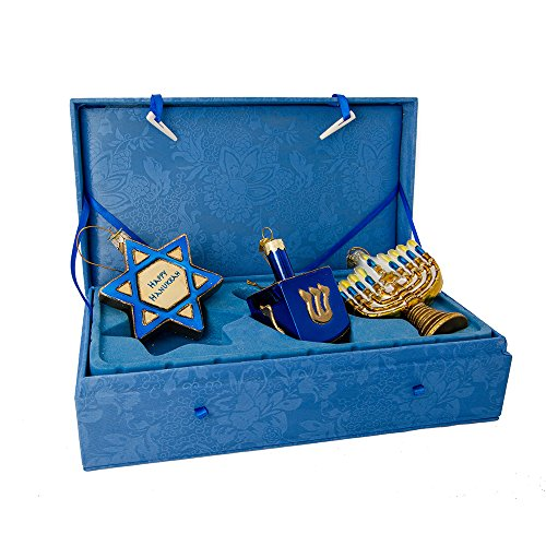 Kurt Adler Noble Gems Hanukkah Ornament 3-Piece Set -