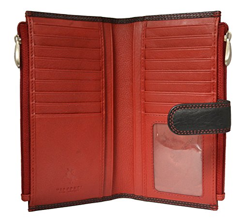 Visconti CD23 Jade Womens Soft Leather Bifold Wallet ,Purse, Clutch COLORADO COLLECTION (Black/ Red)