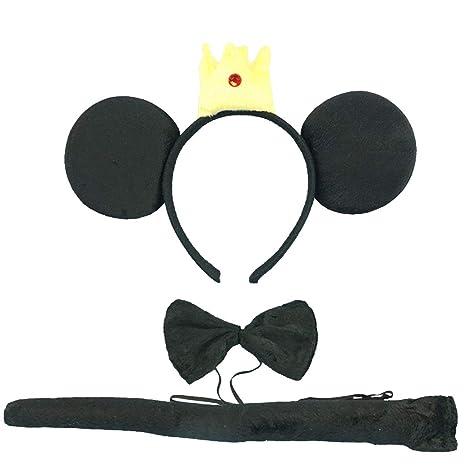 Tumao 3 piezas Diadema de Mouse Orejas, con Corbata y Cola Negro ...