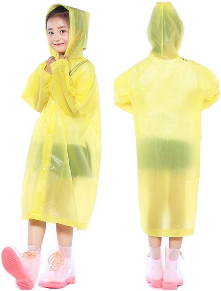 Orgrimmar 2 Pcs Kids Rain Ponchos Reusable Raincoats Portable Rain Wear with Hat Hood Unisex for 6-12 Years Old Children (Yellow)