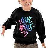 Puppylol Love Wins Kids Classic Crew-Neck Pullover Hoodie Black