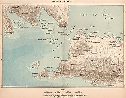 Map Jakarta.Amazon Com Sunda Strait Java Sumatra Batavia Jakarta Indonesia