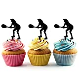 TA0190 Tennis Volley Silhouette Party Wedding Birthday Acrylic Cupcake Toppers Decor 10 pcs