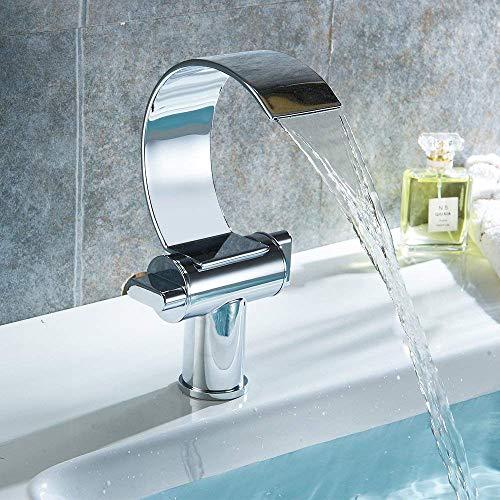 (Modern Waterfall Bathroom Sink Taps Basin Monobloc Mixer Tap Chrome Twin Dual Handle Brass Swivel Spout Faucet)