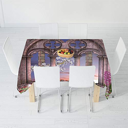 Waterproof Tablecloth,Gothic,for Dining-Table Tea Table Desk Secretaire,102 X 60 Inch,Ancient Colonnade in Secret Garden with Flowers