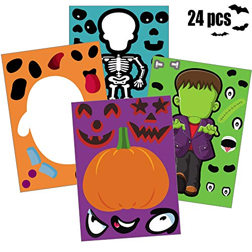 Happy Storm Halloween Party Games for Kids 24 PCS Make Your Own Jack-O-Lantern Halloween Party Activities Make a Face Stickers Sheets DIY Party Favors for Halloween Decorations