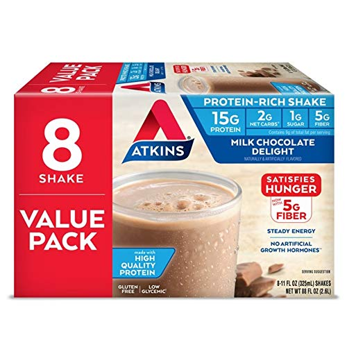 Atkins Gluten Free Protein-Rich Shake, Milk Chocolate Delight, Keto Friendly, 8 Count
