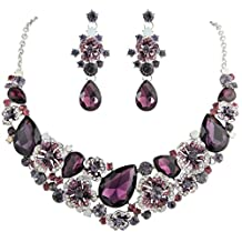 Ever Faith Teadrop Camellia Necklace Earrings Set Austrian Crystal