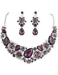 Ever Faith Teadrop Camellia Necklace Earrings Set Austrian Crystal