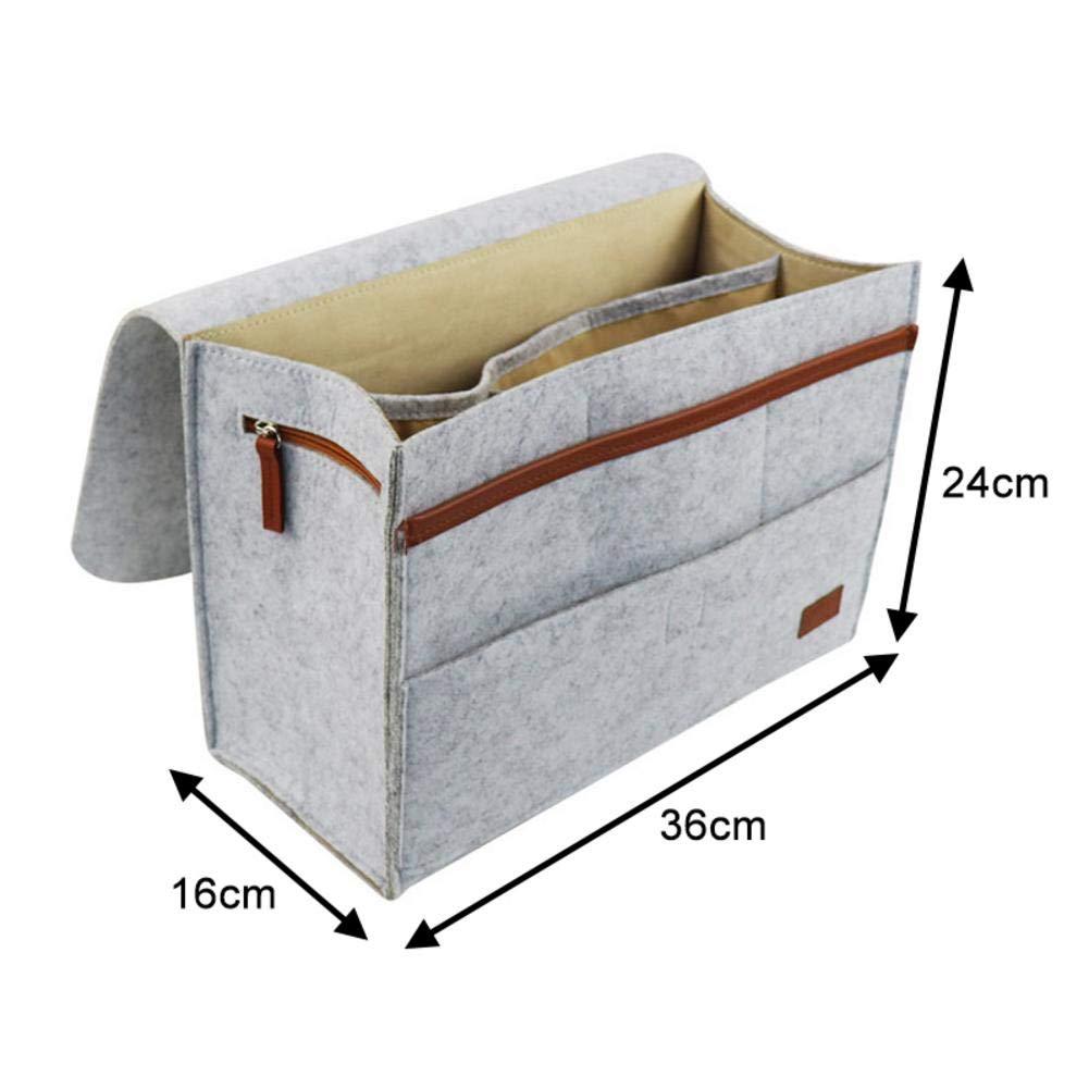 juman634 Bedside Caddy Bett-Beutel-Rutschfester Filz-Speicher-Beutel-Sofabett-Organisator f/ür Buch-Tablet-Zeitschriften-Telefon