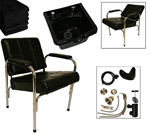 Shampoo Package: Auto Reclining Shampoo Chair & ABS Plastic Shampoo Bowl for Salons & Spas