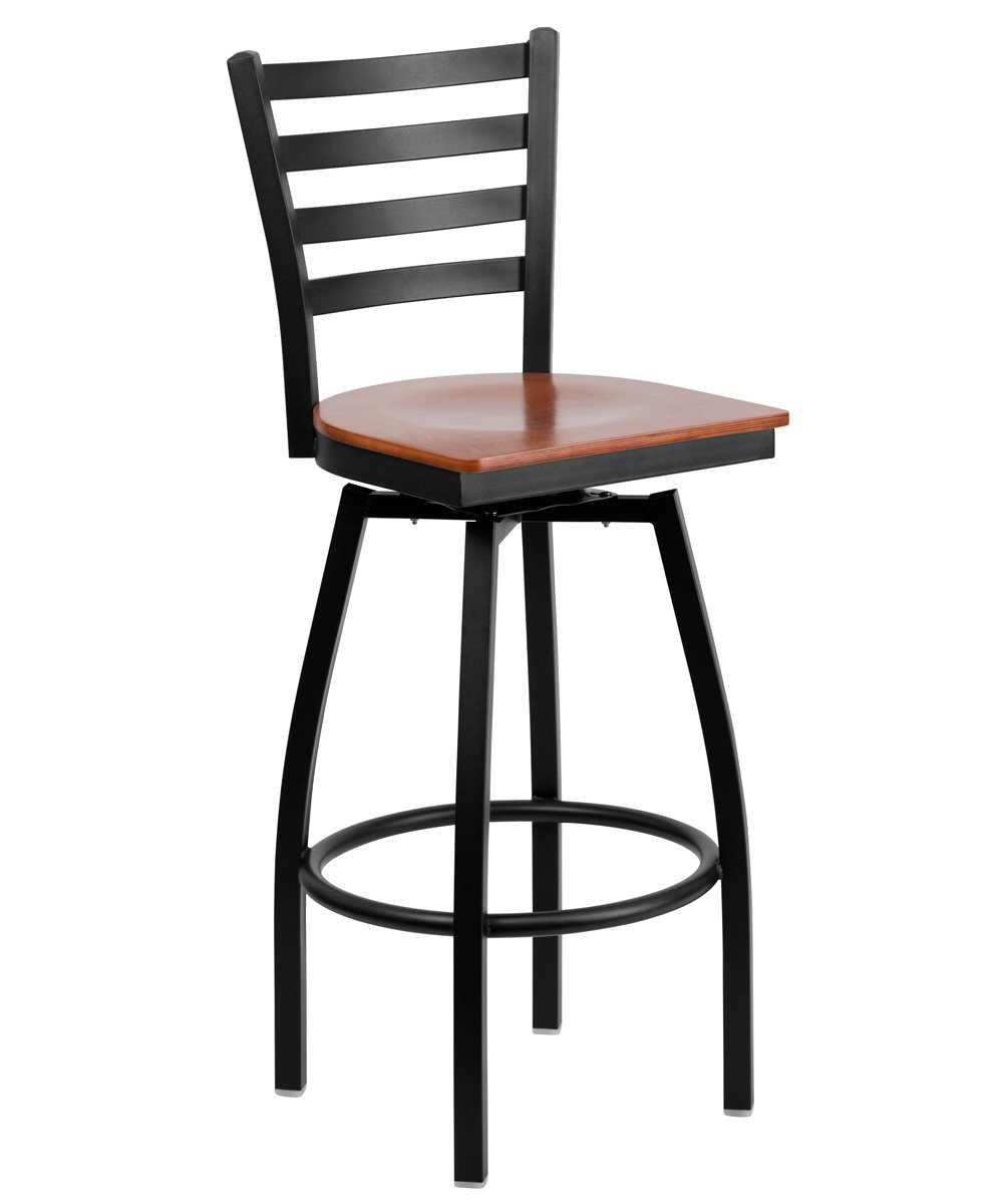 Flash Furniture HERCULES Series Black Ladder Back Swivel Metal Bar Stool-Cherry Wood Seat [XU-6F8B-LADSWVL-CHYW-GG]