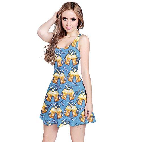 Jogja Women's Beer Mugs Pattern Sleeveless Dress, Blue - M