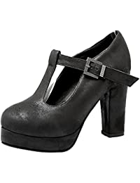 Fashion Women's Round Toe T-strap Chunky Heel Ankle Booties Mary Jane Pumps